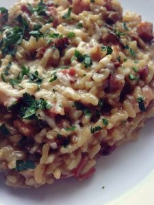 risotto z grzybami i boczkiem przygotowane w instant pot