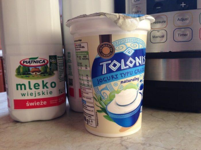 skladniki na jogurt w instantpot