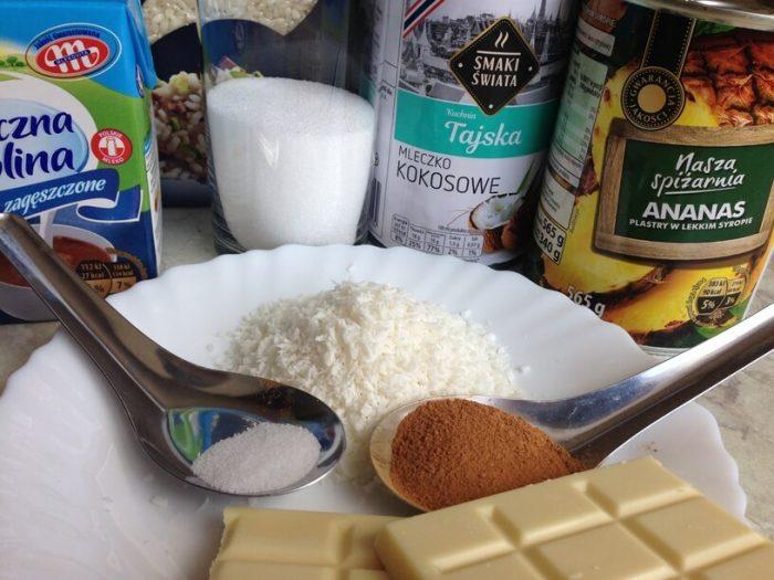składniki na ryżową pina colade w instantpot