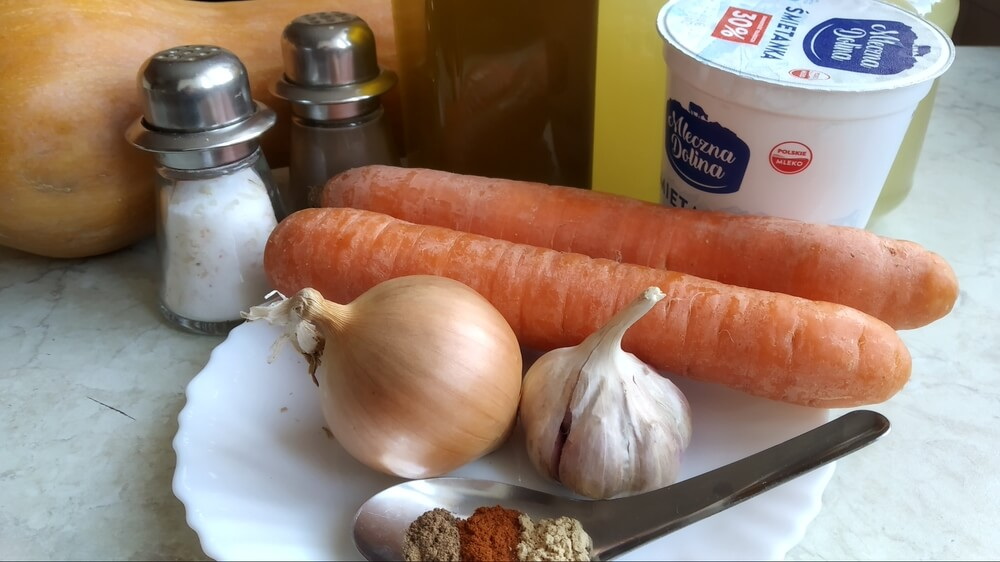 składniki na krem z dyni w instant pot
