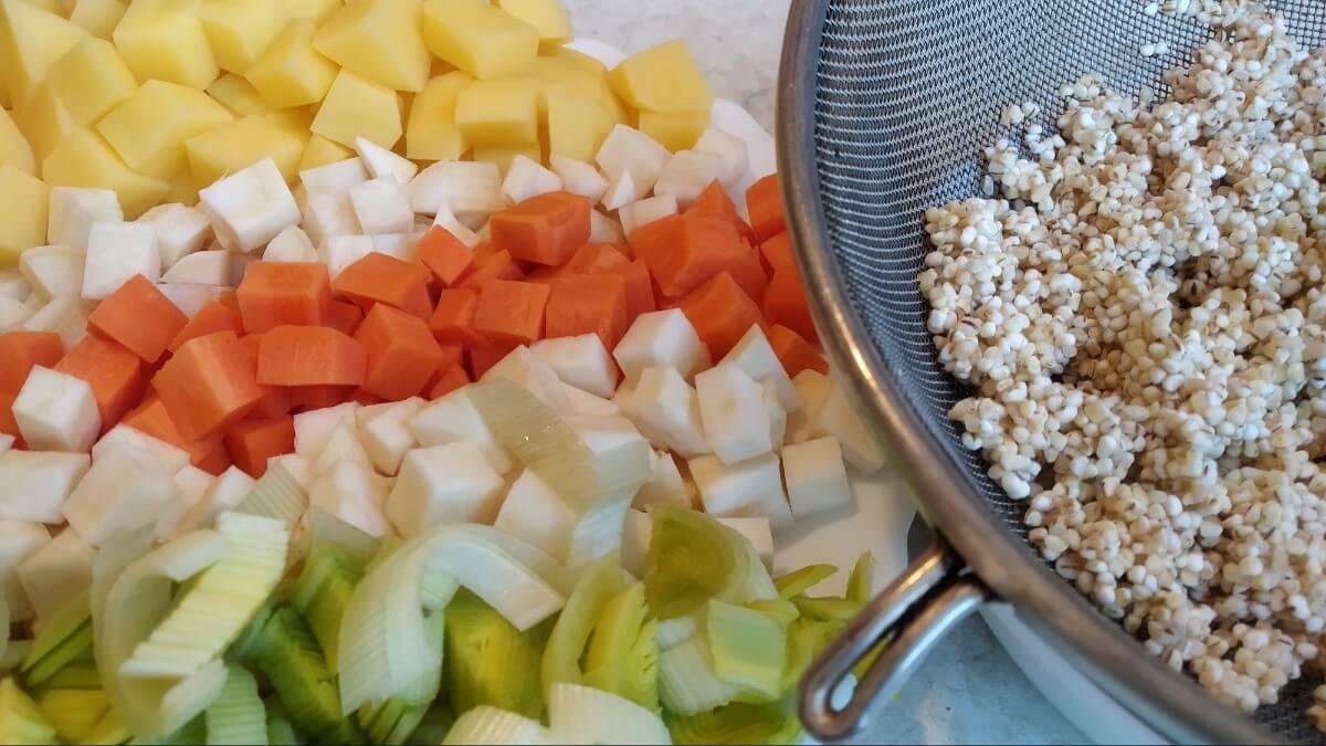chopped vegetables and pearl barley - ingredients for polish soup krupnik