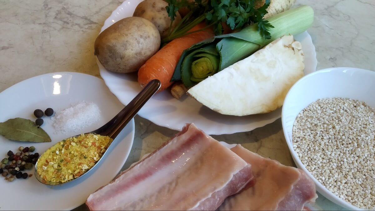 ingredients for polish soup with pearl barley - polish Krupnik