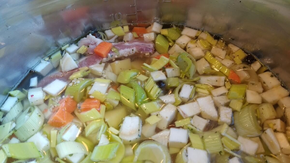 polish soup with pearl barley (Krupnik) - before cooking in instant pot