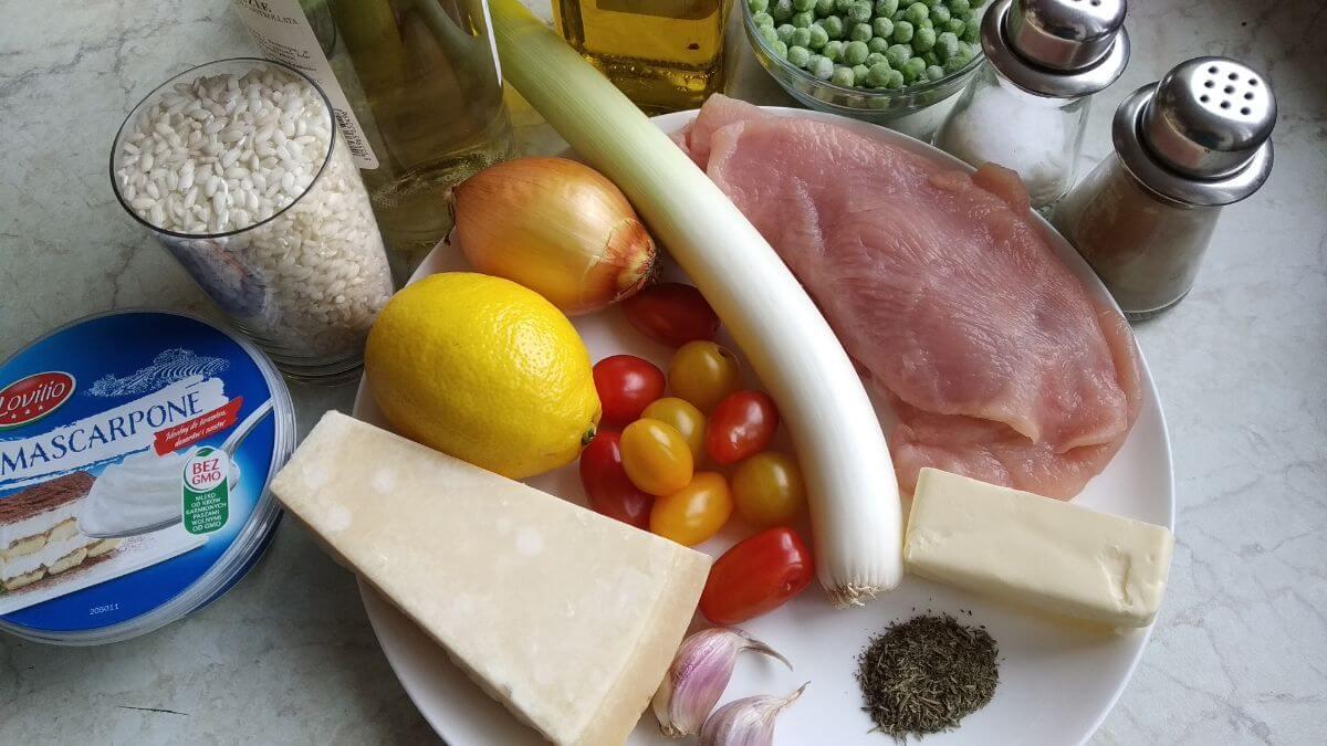 składniki na risotto z indykiem